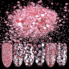 10ml Nail Glitter Powder Sequins Rose Pink Paillette Tips Decoration 1/2/3mm