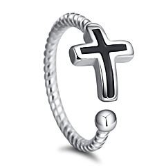 Ring Party Special Occasion Casual Jewelry Silver Plated Cross Ring 1pcAdjustable Silver