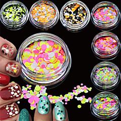 12bottles/set Fashion Nail Art Glitter Colorful Round Thin Paillette Sparkling Slice Beautiful Design Nail Art DIY Decoration P25-36