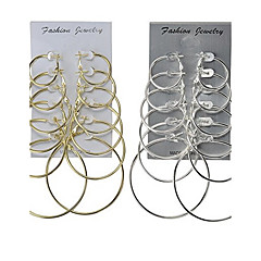 Korvarenkaat Korut Yksinkertainen Multi-tapoja Wear Classic Metalliseos Round Shape Kulta Hopea Korut VartenHäät Party Erikoistilaisuus