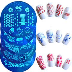 1pcs chaud vente mode plaque d'estampage nail art belle pochoirs manucure belle conception de coeur de bande dessinée fleur papillon pour