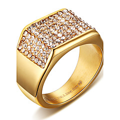 Men's Ring Statement Rings Crystal Euramerican Fashion Punk Hip-Hop Personalized Rock Titanium Steel Square Gold Jewelry For Party