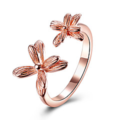 Lucky Doll  Cuff Ring Flower Style Sterling Silver Platinum Plated Rose Gold Plated Jewelry For Party Birthday Business Gift Daily Office & Career1