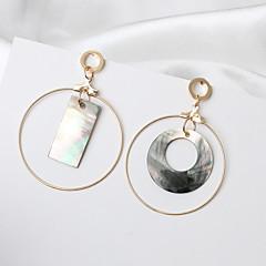 女性用 ドロップイヤリング ミスマッチ ファッション 欧米の 貝殻 合金 円形 ジュエリー 用途 パーティー 日常