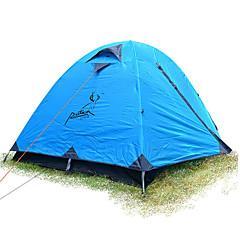 JUNGLEBOA® 2 사람 텐트 비치 텐트 더블 베이스 캠핑 텐트 원 룸 접이식 텐트 방수 휴대용 비 방지 용 하이킹 캠핑 >3000mm 유리 섬유 옥스포드 CM