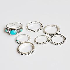 Midi gyűrűk Gyűrű Türkizkék Alap Egyedi Bohemia stílus Kézzel készített Barkács (DIY) Török Klasszikus Türkiz Flower Shape Ezüst Ékszerek