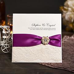 Side Fold Vjenčanje Pozivnice Pozivnice Moderna Papir bisernog sjaja Mašnica Vezice