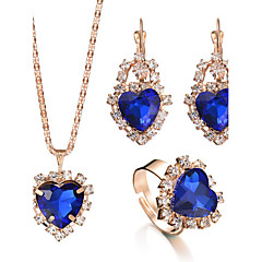 Δαχτυλίδι Κολιέ / Σκουλαρίκια Νυφικό κόσμημα σετ Κρυστάλλινο Στρας Στρας Καρδιά Μοντέρνα Προσαρμόσιμη κοσμήματα πολυτελείας Νυφικό Κομψή