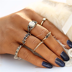 Fashion Retro Style Bohemia Vintage Leaf Jewelry Unique Carving Tibetan Gold Color Ring Set for Women 5PCS/Set Punk Boho Ring Sets Wedding Jewelry