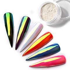 Top Neon Sparkle Unicorn Mirror Nail powder 0.2g ultra thin aurora mermaid chrome pi g ment manicure nail diy jewelry