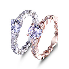 Ring Engagement Ring AAA Cubic Zirconia Love Fashion Elegant Rose Gold Platinum Gemstone  Jewelry For Wedding Party 2PCS