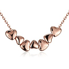 Women's Choker Necklaces Pendant Necklaces Jewelry Cubic Zirconia Heart Geometric Rose Gold Crystal Copper Gold Plated Zinc Alloy Chrome