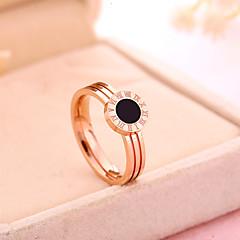 Mulheres Anel Anel de noivado Vintage Clássico Aço Titânio Rosa Folheado a Ouro Forma Redonda Jóias Para Casamento Festa Diário