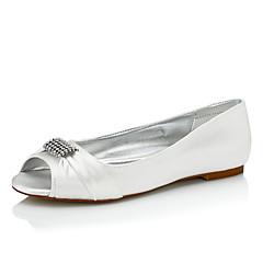 Dame bryllup sko Komfort Silke Vår Høst Bryllup Avslappet Formell Fest/aften Komfort Gummi Flat hæl Krystall Flat