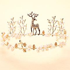 プラチナ 人造真珠 かぶと-結婚式 誕生日 ティアラ 1個