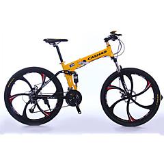 산악 자전거 Folding Bikes Pyöräily 27 Nopeus 26 tuumaa/700CC Shimono Öljy levyjarru Etujousihaarukka Alumiiniseosrunko Taiteltava Tavallinen