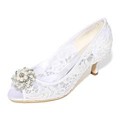 Damă pantofi de nunta Balerini Basic Primăvară Vară Dantelă Tul Nuntă Party & Seară Piatră Semiprețioasă Perle Toc Stiletto Alb Negru Roz