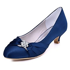 Dame bryllup sko Basispumps Strekksateng Vår Høst Formell Fest/aften Krystall Liten hæl Svart Mørkeblå Rød Mørk Lilla 2,5 - 4,5 cm