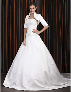 Lan Ting A-line Plus Sizes Wedding Dress - Ivory Chapel Train Spaghetti Straps Satin