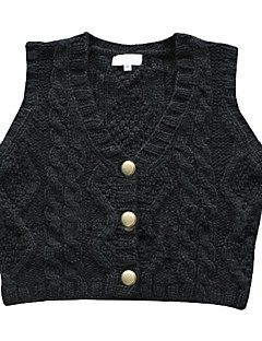 V-neck Metal Buttons Vest Women's Sweater (1002AL0