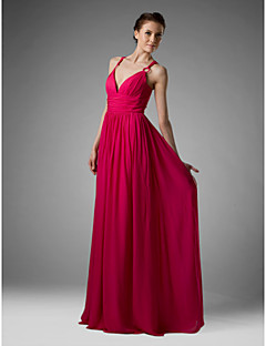 Lanting Floor-length Chiffon Bridesmaid Dress - Fuchsia Plus Sizes / Petite Sheath/Column V-neck / Spaghetti Straps