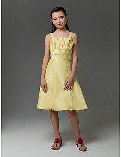 Knee-length Taffeta Junior Bridesmaid Dress - Daffodil A-line / Princess Straps