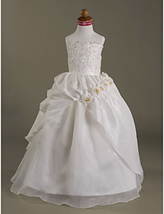 A-line/Ball Gown Floor-length Flower Girl Dress - Organza/Taffeta Sleeveless
