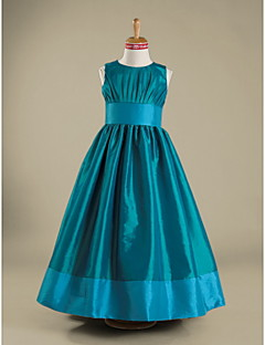 Floor-length Taffeta Junior Bridesmaid Dress - Jade A-line / Princess Jewel