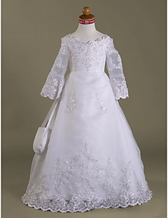 Lanting Bride ® A-line / Princess Floor-length Flower Girl Dress - Organza / Satin Long Sleeve V-neck