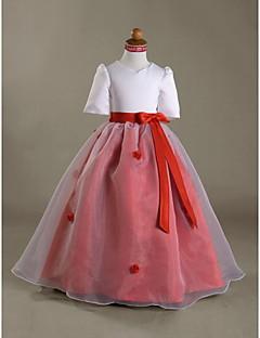 Ball Gown Floor-length Flower Girl Dress - Organza Satin V-neck with Bow(s) Flower(s) Ruffles Sash / Ribbon