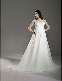 LAN TING BRIDE Plus Size A-line Princess Wedding Dress - See-Through Court Train V-neck Lace Organza with Beading