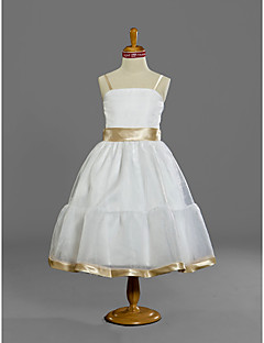 Lanting Bride® Tea-length Satin / Tulle Junior Bridesmaid Dress A-line / Princess Spaghetti Straps Natural with Sash / Ribbon