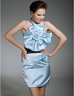 Cocktail Party Homecoming Dress - Celebrity Style Sheath / Column Halter Short / Mini Satin with Flower(s) Sash / Ribbon