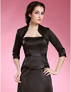 3/4-length Sleeves Satin Special Occasion Evening Jacket/ Wedding Wrap Bolero Shrug