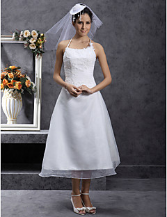 Lanting Bride A-line / Princess Petite / Plus Sizes Wedding Dress-Tea-length Spaghetti Straps Organza