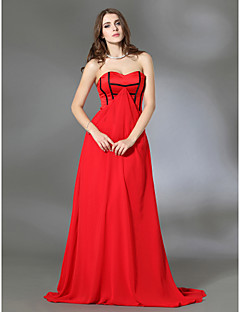 Formal Evening/Military Ball Dress - Ruby Plus Sizes A-line/Princess Strapless/Sweetheart Sweep/Brush Train Chiffon/Charmeuse