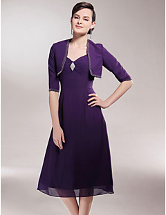 Lanting A-line Plus Sizes / Petite Mother of the Bride Dress - Grape Tea-length Half Sleeve Chiffon