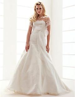 Lanting Bride A-line / Princess Petite / Plus Sizes Wedding Dress-Court Train Jewel