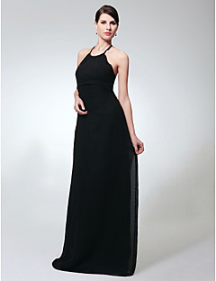 Formal Evening / Military Ball / Wedding Party Dress - Black Plus Sizes / Petite Sheath/Column Halter Floor-length Chiffon