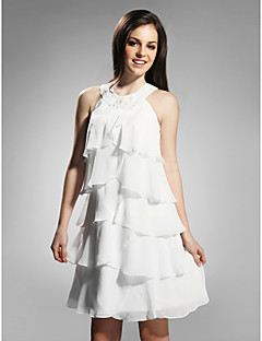 Homecoming Cocktail Party/Graduation/Holiday Dress - White Plus Sizes Sheath/Column Jewel Knee-length Chiffon