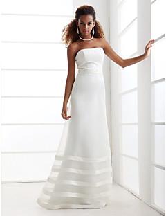 A-Line Strapless Floor Length Organza Satin Wedding Dress with Beading Sash / Ribbon by LAN TING BRIDE®