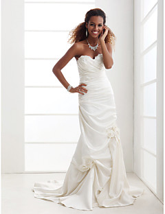 Trumpet/Mermaid Plus Sizes Wedding Dress - Ivory Court Train Sweetheart Satin
