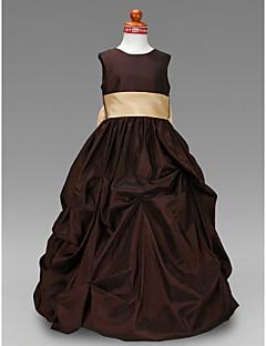 Ball Gown Floor-length Flower Girl Dress - Taffeta Jewel with Bow(s) Pick Up Skirt Sash / Ribbon