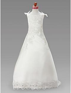 A-line / Princess Sweep / Brush Train / Court Train Flower Girl Dress - Satin Sleeveless Jewel with Appliques / Beading / Draping