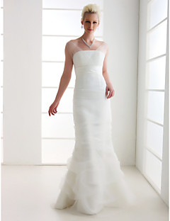 Lan Ting Trumpet/Mermaid Plus Sizes Wedding Dress - Ivory Floor-length Off-the-shoulder Tulle/Organza