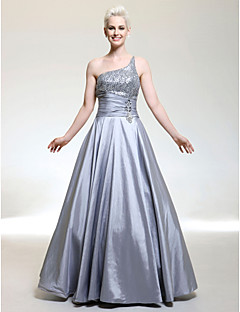 A-line One Shoulder Floor-length Taffeta Evening/Prom Dress