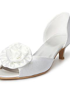 AKULINA - Sapato Dedo Aberto para Casamento de Noiva Salto Curto em Cetim