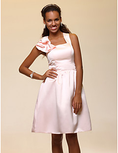 Lanting Bride® Knee-length Satin Bridesmaid Dress A-line StrapsApple / Hourglass / Inverted Triangle / Pear / Rectangle / Plus Size /