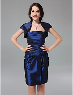 Knee-length Taffeta Bridesmaid Dress - Royal Blue Plus Sizes Sheath/Column Strapless