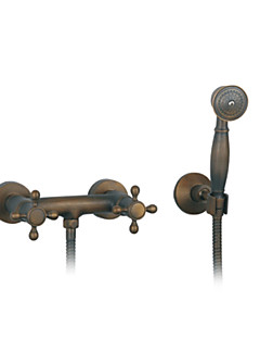 Antique Wall Mounted Handshower Included with  Ceramic Valve Two Handles Three Holes for  Antique Brass , Shower Faucet